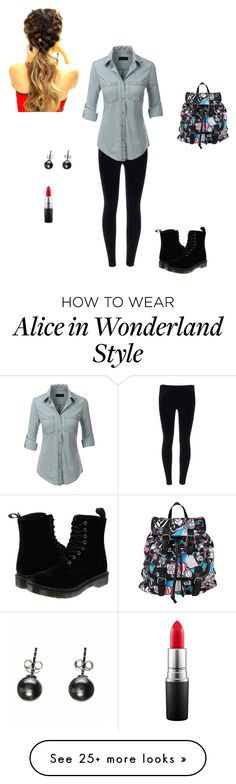 """travel"" by heatherroseschmidt on Polyvore featuring LE3NO, Dr. Martens, Disney, MAC Cosmetics, women's clothing, women, female, woman, misses and juniors"
