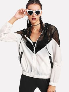 Shop Two Tone Mesh Panel Hooded Jacket online. SheIn offers Two Tone Mesh Panel Hooded Jacket & more to fit your fashionable needs. Sport Fashion, Fashion News, Ootd Fashion, Sporty Outfits, Cute Outfits, Trendy Outfits, Evolution Of Fashion, Sport Wear, Jackets Online
