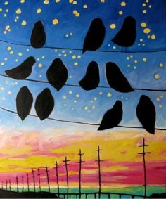 CC Week 6 Final Project Idea:  Birds on a Wire (ties in perspective and OILS . . . use Mona Brookes step by step to draw birds instead of silhouettes, then have student make mirror image of their first bird)