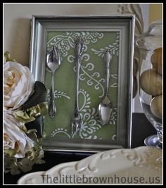 Hand made shadow box of flatware Decor. from Dollar Tree items...cheep but beautiful.