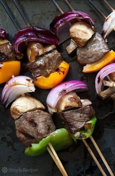 Beef Kebabs ~ What's a summer grill without beef kebabs? Top sirloin chunks, marinated in soy sauce, garlic, ginger, olive oil marinade, grilled with onions, mushrooms, bell peppers. ~ SimplyRecipes.com #food #summer Foods Grilling Recipes #recipe