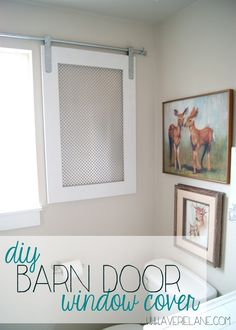 Project Kid's Bathroom: DIY Barn Door Window Cover for the Bathroom Door Window Cover for the Bathroom - a wood and metal barn door for the bathroom window. How we built it - including the hanging hardware! Bathroom Window Coverings, Door Window Covering, Barn Door Window, Bathroom Barn Door, Wood Barn Door, Diy Barn Door Hardware, Window In Shower, Bathroom Windows, Metal Barn