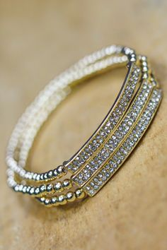 Gold and Silver Stretch Rhinestone Bracelet | UOIOnline.com: Women's Clothing Boutique