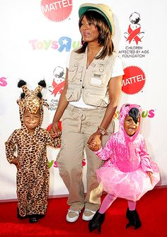 Angela Bassett and her children Slater and Bronwyn dressed up for Halloween in 2008.