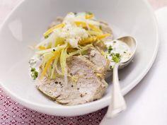 Probieren Sie das leckere Meerrettichfleisch mit Gemüse und Schnittlauch-Dip von EAT SMARTER!