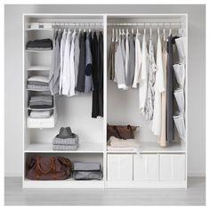 PAX Wardrobe, white, Hasvik white, cm - Shop online or in-store - IKEA Pax System, Pax Wardrobe, Wardrobe Rack, Wardrobe Ideas, White Wardrobe, Closet Ideas, Ikea Skubb, Pax Planer, Ideas Habitaciones