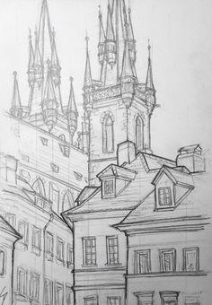 Quick Sketch. 'Tynska, Prague.' Drew this perched on the cobbles beside an archway, watching the world go by. davidasutton.com @davidasutton #drawing #sketch #czech #prague #europe