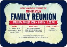 Start planning your annual Family Reunion with this brand new invite.