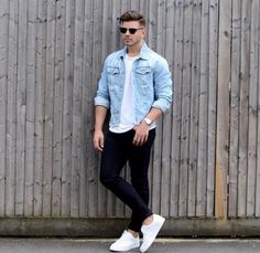 Light Wash Denim Button Down Long Sleeve Shirt with White Crew Neck Tshirt underneath Black Levi Jeans with White Converse for Shoes