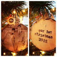 DIY mod podge ceramic Christmas ornament #firstyear #newlywed #firstchristmas