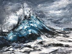 Original painting of an ocean wave by contemporary Vancouver artist Tiffany Blaise. Artwork composed of mixed media on paper. View seascape painting online or book a studio visit. Seascape Paintings, Landscape Paintings, Ocean Wave Painting, Original Paintings, Original Art, Stormy Sea, Spring Art, Contemporary Landscape, Canadian Artists