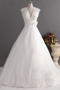 Romantic A-Line V-Neck Natural Train Organza Ivory Sleeveless Zipper Wedding Dress with Flower CWZT14008