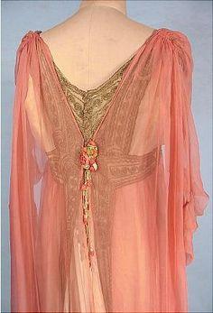 """1912 JEANNE HALLEE, Paris Pink Gossamer Silk Chiffon Gown! A most exquisite gown of this era! Parisian gown, labelled """"Jeanne Hallee, 3 Rue de la Ville l'Eveque, Paris"""