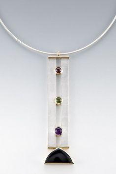 "Necklace: S/S, 18KT, onyx, garnet, peridot, amethyst, on 17"" S/S coil"