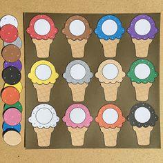 ice cream cone color match for preschool and kindergarten Summer Preschool Themes, Preschool Color Activities, Preschool Learning Activities, Preschool Lessons, Preschool Classroom, Toddler Activities, Preschool Activities, Shape Activities, File Folder Activities