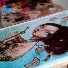 Encarguitos chulis :) ... Seguro que a much@s malagueñ@s os suena! #oilpaint #illustration #handmade #artwork #traditionalart #malagacool #sweet #illustratedgirls #ilustradora #doll #lagunillas #draw #paint #instartist #ink #tattoogirl #ilustracion