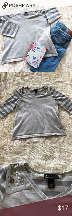 Lane Bryant Top Excellent condition top. Beautiful jewels along the neckline. This is perfect for a statement outfit. In a heathered gray color. Thicker material, but breathable. Bundle and save! Size 14/16✌🏼❤️😊 Lane Bryant Tops