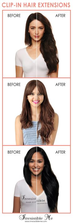 Get long hair in less than 5 minutes with Irresistible Me 100% human Remy clip-in hair extensions. The before and after change is totally awesome and nobody will know you're wearing hair extensions. Can be cut, dyed and heat styled. Worldwide delivery, free exchanges and returns