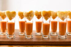 Heart shaped grilled cheese sandwiches and tomato soup shooters