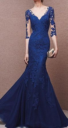 Long Sleeve evening gowns for the mothers of the wedding. This blue lace evening gown has a v neck line. A suitable design for the mother of the bride dress. We can recreate this design for you in any color, size or with any changes. See other #motherofthebridedresses at http://www.dariuscordell.com/featured_item/custom-made-mother-of-the-bride-evening-dresses/: