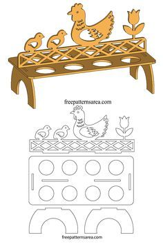 A wooden egg stand plan for laser cutting machines that can carry 8 eggs. There are chicken, chick and tulip flower designs on the stand. Cardboard Crafts, Wood Crafts, Diy And Crafts, Cardboard Furniture, Laser Cutter Ideas, Laser Cutter Projects, Wood Projects, Woodworking Projects, Projects To Try