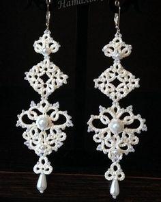 Фотографии Рукоделие. Фриволите Tatting Earrings, Tatting Jewelry, Lace Earrings, Lace Jewelry, Tatting Lace, Diy Jewelry, Crochet Earrings, Jewelry Making, Vintage Patterns