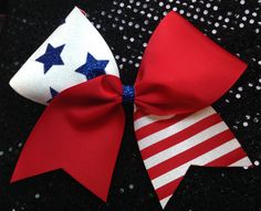 Cheer Red white and Blue 3 Cheer/Softball bow by iSparkleBows