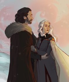 """There'll come a time, you'll see, With no more tears and Love will not break your heart but dismiss your fears"" Daenerys Targaryen Art, Jon Snow And Daenerys, Game Of Thrones Artwork, I Love Games, Fanart, Artwork Display, Mother Of Dragons, Couple Art, Comics"