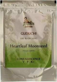 GUDUCHI POWDER 100% USDA CERTIFIED ORGANIC - 100gm by Gopala Organic. $5.95. Natural and Deep Detoxification. Digestive Cleanser, Mild Digestive Stimulant. Anti-Microbial, Anti-Fungal, Anti-Bacterial. Eliminates Fevers, anti-pyretic. Purifies the Liver and Blood. Organic Guduchi is one of the rare Ayurvedic herbs that is both heating and cleansing. Guduchi is a great medicinal herb for the treatment of fevers due to its heating energy. In the condition of a fever the body ...