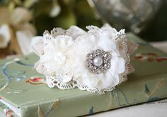 Shabby Chic Floral Bracelet - Pearl, Rhinestone and Vintage Button Jewelry