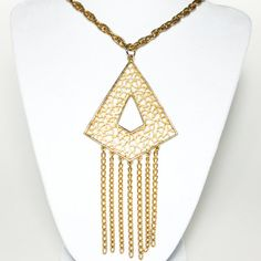 Vintage Mod Style Geometric Gold Filigree Cut Work Pendant with Tassels Necklace Fall Trend 2013