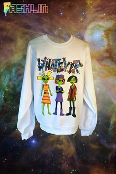 Unisex WHATEVER 90s Cartoon Alien Babes Sweatshirt // MTV Nickelodeon Jane Lane Cynthia Doll // FASHLIN on Etsy, $45.00
