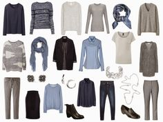 The Vivienne Files: A 4 by 4 Wardrobe in Smoky Blue, Pearl Grey, Navy and Grey - just switch out the sweaters for tees in the summer, switch out a few of the pants for shorts, and the heavy black jacket for a linen one. use same color/print concepts Capsule Wardrobe, Core Wardrobe, Capsule Outfits, Fashion Capsule, Travel Wardrobe, Capsule Clothing, The Vivienne, Minimalist Wardrobe, Mode Style