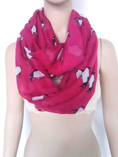 Bright Pink Penguin Print Infinity Loop Scarf Women's Accessories Gift Scarves by LinaScarf on Etsy https://www.etsy.com/listing/206984071/bright-pink-penguin-print-infinity-loop