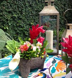 Flower molcajete, oaxacan table runners. Ready for Mexican fiesta!!! #september #mexico #couturerentals
