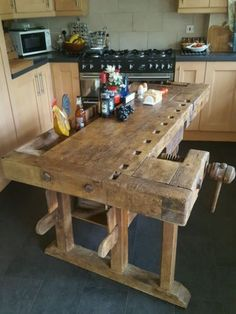 Oak antique carpenter's  #workbench kitchen #island #butchers block rustic table,  View more on the LINK: 	http://www.zeppy.io/product/gb/2/172292471655/