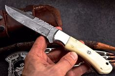 Damascus steel Hunting/skinn knifefully handmade knifeoverall length length made of camel bone with steel bolstersharp as razor also come with leather sheath 456 layers with 59 HRC rockwell Damascus Blade, Damascus Steel, Skinning Knife, Folding Pocket Knife, Handmade Knives, Kitchen Knives, Hunting Knives, Store, Larger