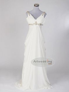 Sleeveless V Neck Chiffon Empire Wedding Dress with Rhinestone Detail