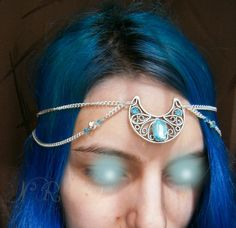 Moon Goddess Circlet  Azure  medieval hairchain by ElvenAdornments, $33.00