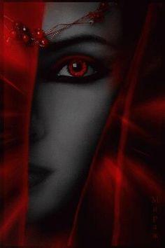 Black and Red Beauty / Woman / Face Dark Fantasy Art, Fantasy Women, Vampire Love, Vampire Girls, Vampire Art, Gothic Vampire, Dark Gothic, Gothic Art, Gifs
