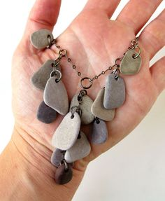 Beach stones necklace for lovers of lavender. - Authentic Arts   Natural Jewelry
