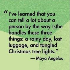 I've learned that you can tell a lot about a person by the way (s)he handles these three things: a rainy day, lost luggage, and tangled Christmas tree lights.  ~ Maya Angelou