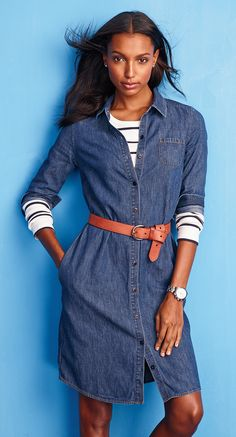 Denim shirtdress — layer it with stripes and a belt for an easy (yet oh-so-chic) look.