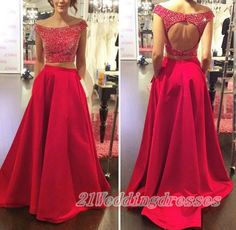 Open Back Red Prom Dresses,Beaded Prom Dresses,Off-Shoulder Evening Dresses http://21weddingdresses.storenvy.com/products/10450266-two-pieces-red-prom-dresses-beaded-prom-dresses-off-shoulder-evening-dresses