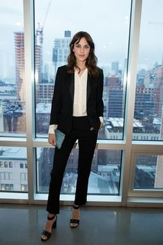 Alexa Chung fashion and style - She wore a Boy. By Band Of Outsiders trouser suit to the mytheresa.com x Altuzarra event in New York.
