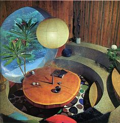 Circular sunken dining room, from The Practical Encyclopedia of Good Decorating and Home Improvement, Greystone Press, 1970