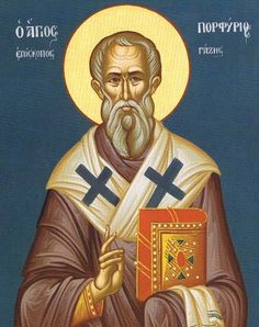 Saint of the Day - February 26 - St. Porphyry of Gaza c347-420 #pinterest We go far back in history today to learn a bit about a saint whose name is not familiar to most of us in the West but who is celebrated by the Greek and other Eastern churches. Born near Greece in the mid-4th century, Porphyry is most known for his generosity to the poor and ...........  Awestruck Catholic Social Network