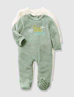5b0c7dba25be Lote de 2 pijamas bebé VERDE OSCURO LISO