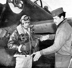 Captain Hugh Dow (347th FS) conversation with the Ten. Torres (left), before the Mission in Italy with a P-47 in FEB, the SENTA PUA, Italy, 1944