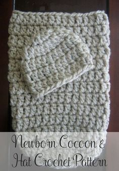 Free crochet pattern a cute and cozy crochet cocoon pattern that includes a matching crochet hat pattern Newborn size Perfect for new babies or as a photo prop By Posh P. Crochet Baby Clothes, Newborn Crochet, Crochet Baby Hats, Baby Knitting, Free Crochet, Booties Crochet, Crochet Baby Cocoon Pattern, Pattern Baby, Crochet Patterns